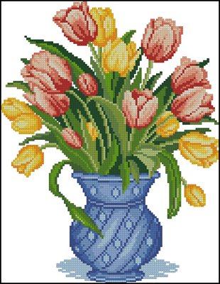 Тюльпаны в голубом вышивка крестом схема