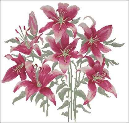 Lily Flower схема вышивки крестом скачать