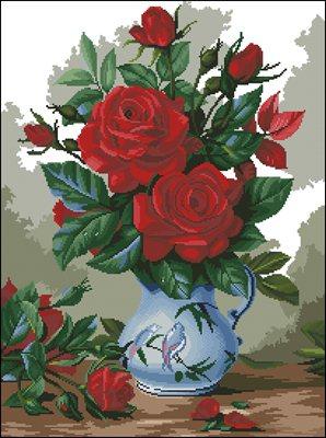 Розы в вазе схема вышивки крестом