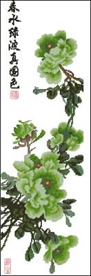Peony - Spring Green вышивка крестом скачать схему