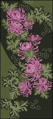 Хризантемы на черном схема вышивки крестом скачать бесплатно