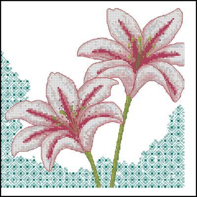 Две лилии вышивка крестом схема вышивки