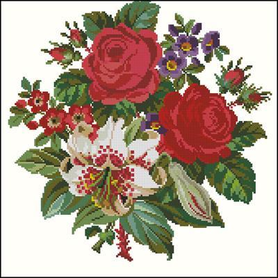 Букет красивых цветов схема вышивки крестом