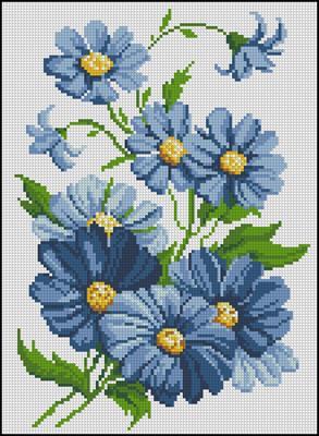 Cини цветя вышивка крестом