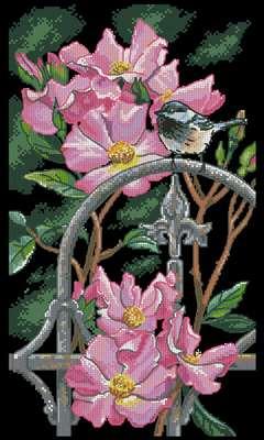 Chickadee Perch схема вышивки крестом