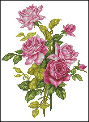 Pink Rose #OC-17-173 схема вышивки крестом