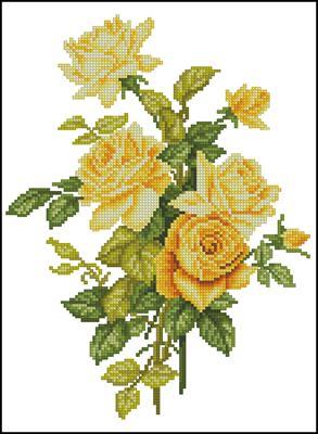 Жёлтые розы схема вышивки крестом
