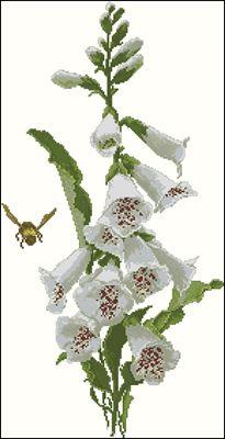 White Foxgloves схема вышивки крестом