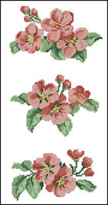 Цветочки (3 шт.) схема вышивки