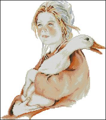 Девочка с гусем схема вышивки крестиком