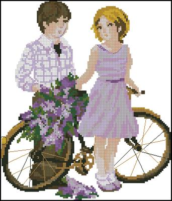 Дети - прогулка с велосипедом схема