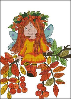 Autumn fairy схема вышивки
