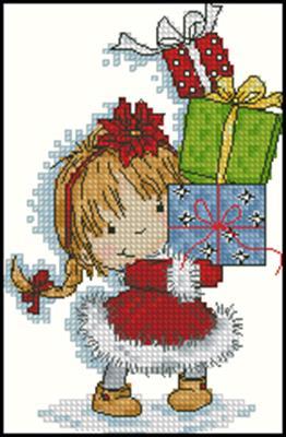 Малышка с подарками схема вышивать крестом