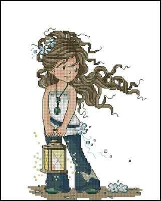 Девочка с фонариком вышивка