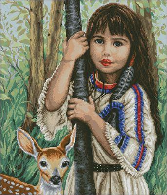 Индейский ребенок схема вышивки