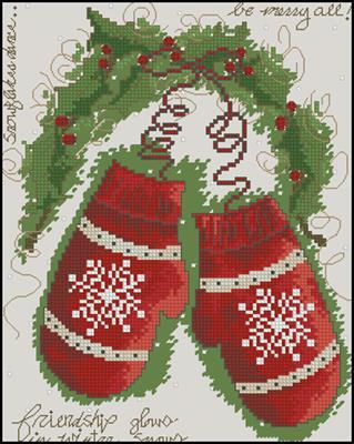 Vintage Winter Варежки схема вышивать