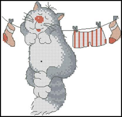 Выстираная Киса схема вышивки