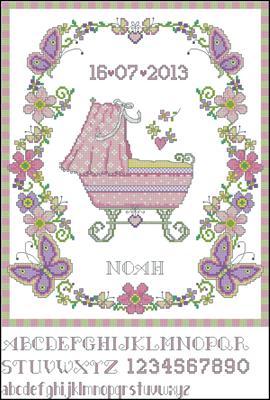 Baby Sampler Girl схема вышивки