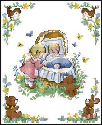 Дети и зверушки схема вышивки