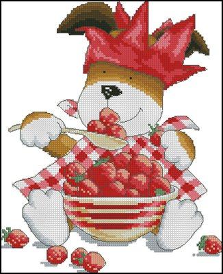 Kipper's Strawberry Dinner вышивка крестом