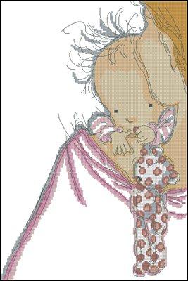 Baby Hugs схема крестом вышивка