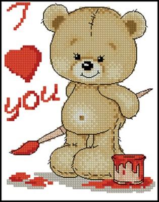 "Мишка ""I Love You"" вышивка крестом"