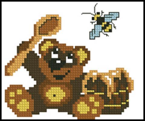 Мишка-сладкоежка схема вышивки крестом