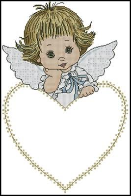 Детская метрика с ангелочком схема вышивки крестом