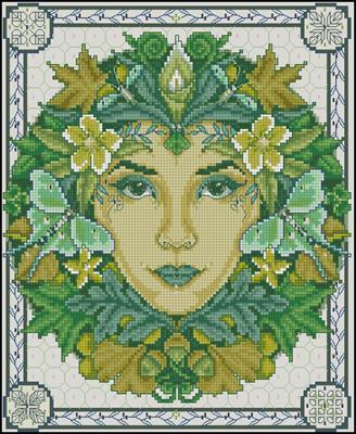 Green goddess схема вышивки крестом
