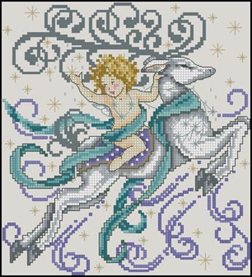 Winter cherub схема вышивки крестом