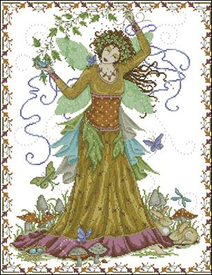 Woodland goddess схема вышивки