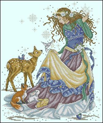 Снежная принцесса схема для вышивки крестиком