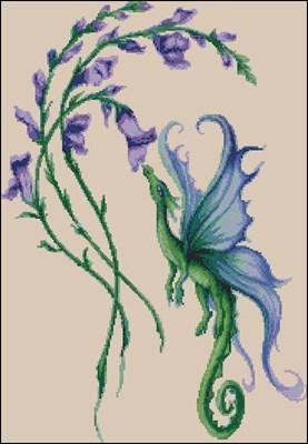Цветочный дракончик схема вышивки крестом