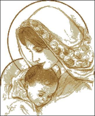 Мадонна с младенцем (в бежевых тонах) схема вышивки