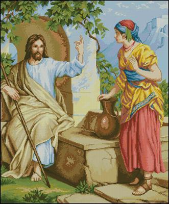 Isus si samarideanca схема вышивки крестиком