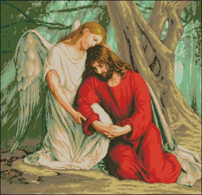 Иисус в Гефсиманском саду схема вышивки крестиком
