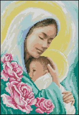 Мария с младенцем схема вышивки крестиком