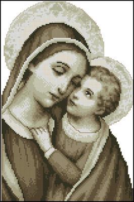 Virgin Mary and Jesus вышивка крестом