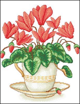 Цветы в чашке схема вышивать крестом