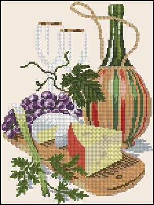 Cheese & Red Wine вышивка крестиком