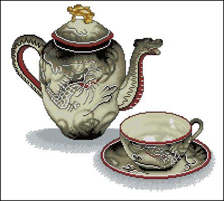 Чайник и чашка вышивка крестом