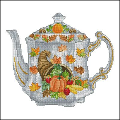 Autum Teapot вышивка схема крестиком
