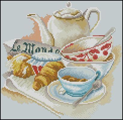 Французкий завтрак вышивка схема крестом