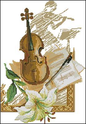 Скрипка схема вышивки крестиком