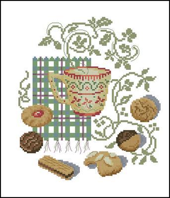 Чаёк с печеньками вышивка