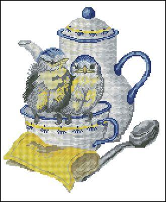 Чай с синичками схема вышивки крестом скачать бесплатно