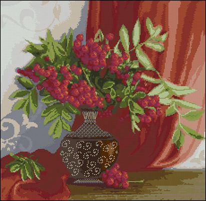 Красный натюрморт схема вышивки крестом скачать