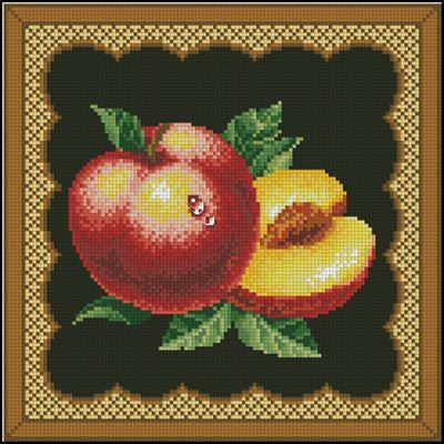 Персики - подушечка вышивка крестиком
