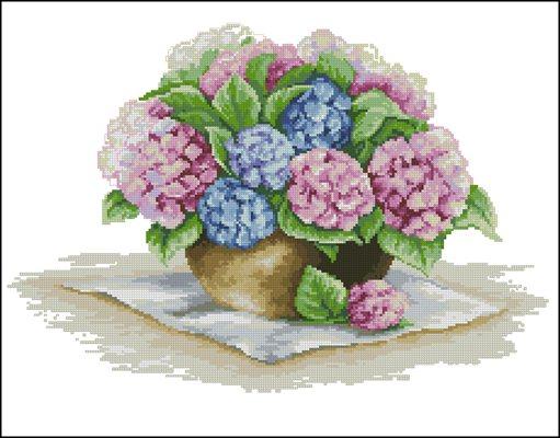 Hortensia in a Vase вышивки крестом схема скачать