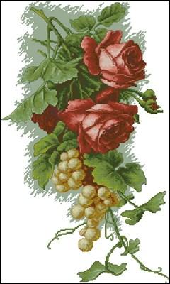 Красные розы с виноградом скачать схему вышивки крестом